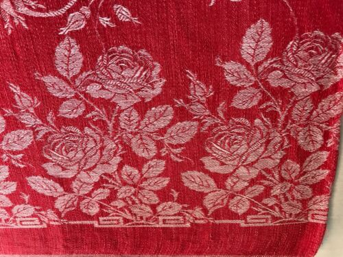 "52"" x 67""antique turkey Red damask  tablecloth 56"" square heallthy mended 1880"