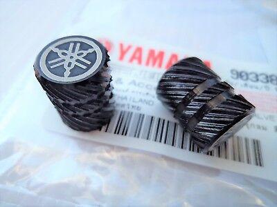 2 x Yamaha Tyre Wheel Dust Valve Caps Tuning Fork BLACK ** GENUINE & UK STOCK **