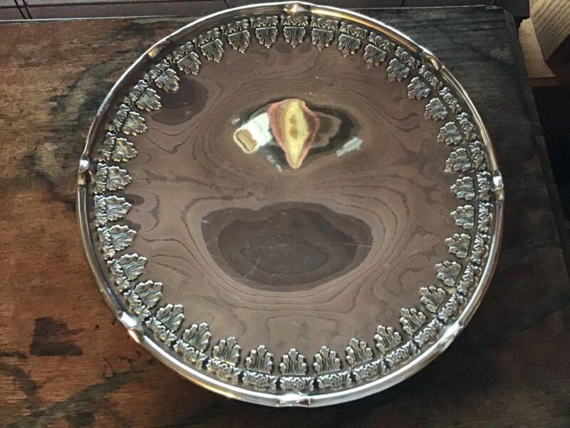 1920's Bernard Rice & Sons Silverplate Cake Pie Dessert Pedestal Plate EPNS