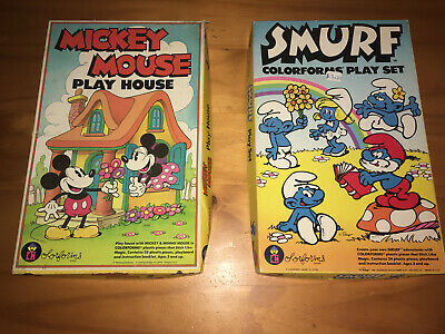 Vintage Walt Disney Mickey Mouse Play 689 and Smurf 1981 Colorforms 655 Playset