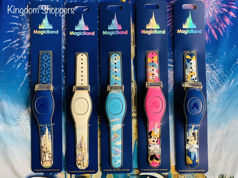 2021 Disney Parks Walt Disney World 50th Celebration Magicband Lot Of 5