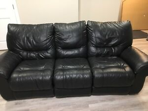Leather couch with recliner