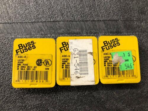 Bussmann AGC-4 & AGC-5 4A/5A Miniature Fuses 250VAC Lot of 14
