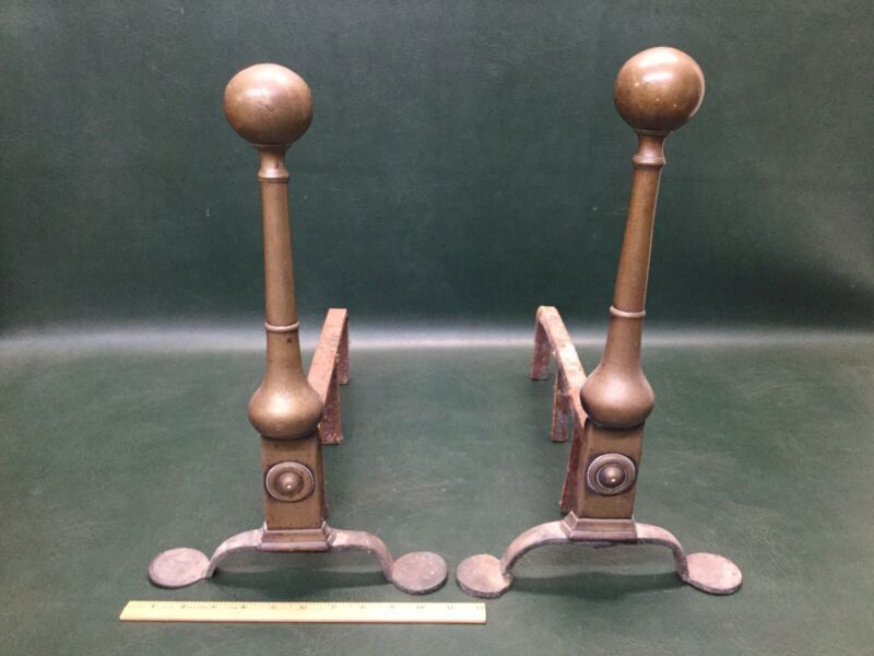 Rare Pair of Antique Brass Ball Andirons Newport  RI. C.1770  Chippendale