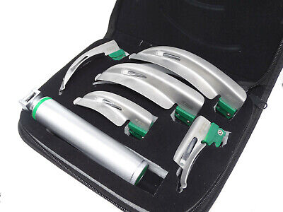 Laryngoscope Set 6 Pcs Intubaion Blades Handle Fiber-optic Kit With Black Case