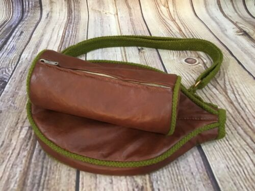 Vintage Brown Vinyl Tennis Racket Head Cover Zip Fabric Lined Ball Carrier Strap