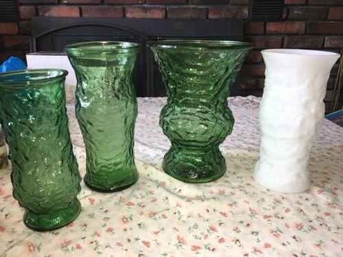 """4 VTG EO Brody 10"""" Decorative Crinkled Textured Green & White Glass Flower Vases"""