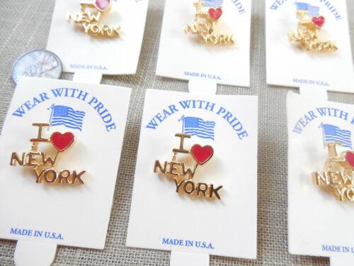 Vintage NOS lot of 6 I Love New York red enamel heart tac clutch pins D88