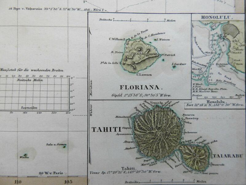 East Polynesia Pacific Islands Hawaii Honolulu harbor missions 1852 Berghaus map