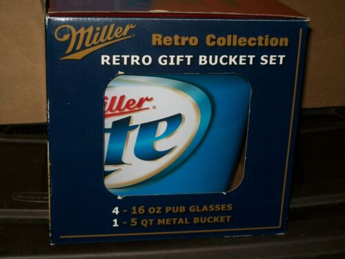 MILLER LITE BUCKET with RETRO LABELS GLASSES (set of 4)