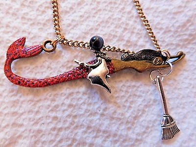 GORGEOUS SEA WITCH MERMAID PAGAN WICCAN Broom Blessing  NECKLACE HALLOWEEN!  - Pagan Halloween Blessing