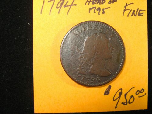 1794 LIBERTY CAP LARGE CENT HEAD OF 1795 FINE DETAILS VERY SCARCE!