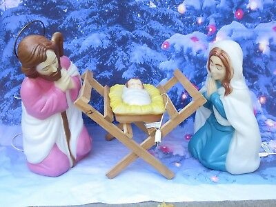 Vintage General Foam 4pc Nativity Lighted Blow Mold Set Mary Joseph & Baby Jesus
