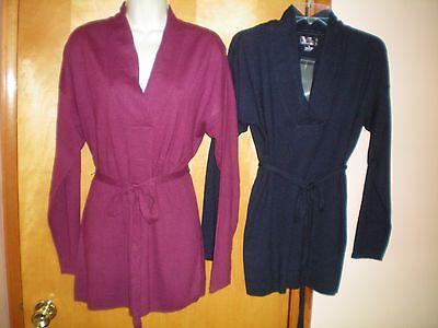 - NEW womens fuchsia pink L XL navy blue MOTHERHOOD maternity belted tunic sweater