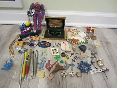 Vtg JUNK DRAWER Lot -Advertising,Toys, Sample Tins, Costume Jewelry, Pencils