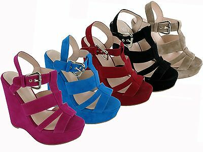 BRAND NEW LADIES OPEN TOE SLING BACK STRAPPY PIN BUCKLE HIGH WEDGE SANDALS ()