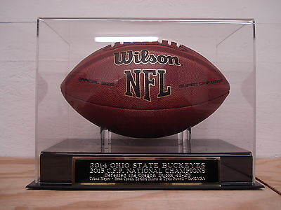 Football Display Case With A 2014 Ohio State Buckeyes CFP Champions Nameplate