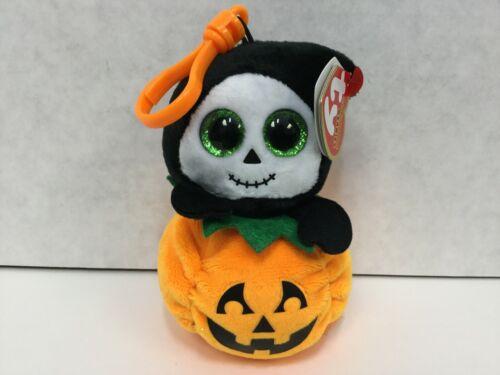 TY Beanie Boos Halloweenie Beanies SPOOKY Grim Reaper w Pumpkin Key Clip, 2018