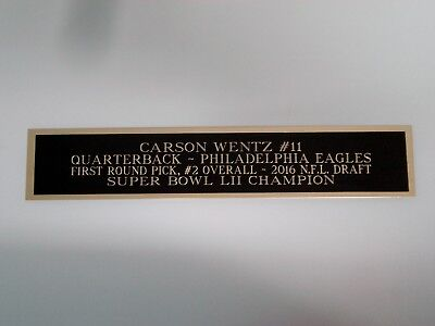 Carson Wentz Eagles Engraved Nameplate For A Football Jersey Case 1.5 X 8