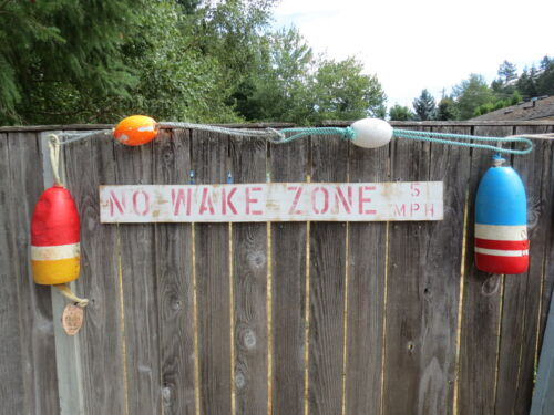 48 INCH WOOD HAND PAINTED NO WAKE ZONE 5MPH SIGN NAUTICAL SEAFOOD (#S817)