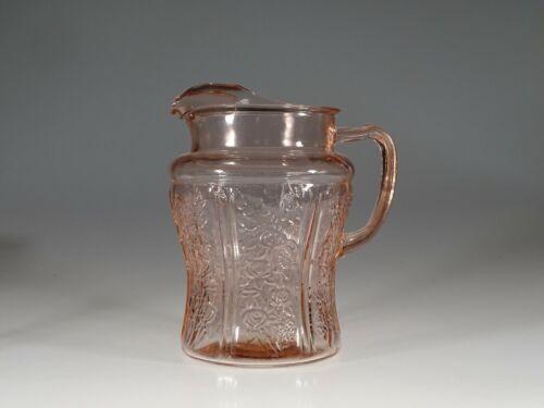 Vintage Depression Era Federal Glass Pink Rose of Sharon Ice Lip Pitcher c.1935