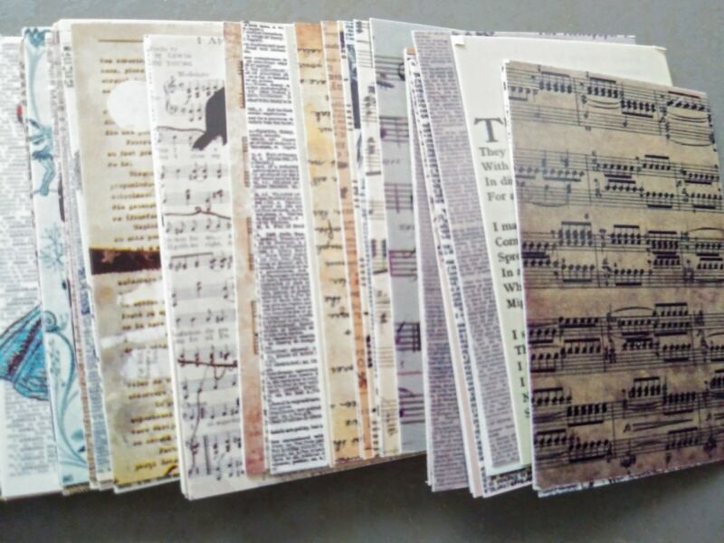 Junk Journal Ephemera 100 Pieces of Old Book Pages Cardstock Pieces 2 x 1.25in