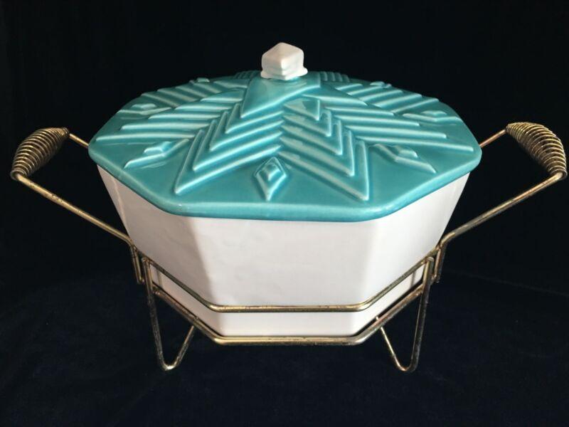 Vintage Mid Century Turquoise/Aqua Warming/Casserole Dish Bowl W/Stand