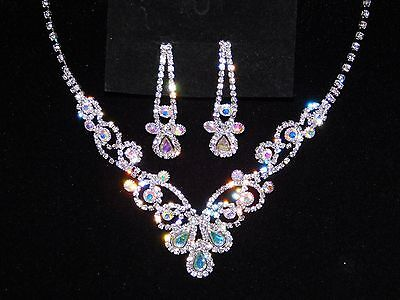 Iridescent Set - Silver AB Iridescent Rhinestone Necklace and Earrings Wedding Set 16475