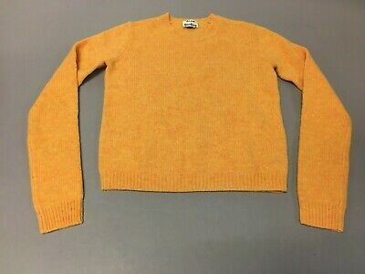 Acne Studios Women's Long Sleeve Crew Neck Cropped Sweater MW7 Orange Small