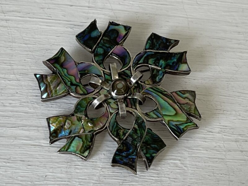 Vintage Sterling Silver Taxco Inlay Abalone Brooch Pin Pendant
