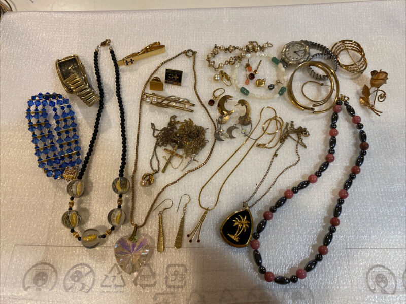 Vintage Gold Filled Lot 263g- Necklaces; Watch; Earrings; Mixed Lot For Scrap
