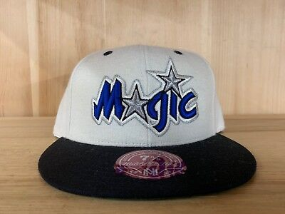 MITCHELL AND NESS ORLANDO MAGIC CREME BLACK BLUE FITTED HAT CAP MENS SZ 7-8