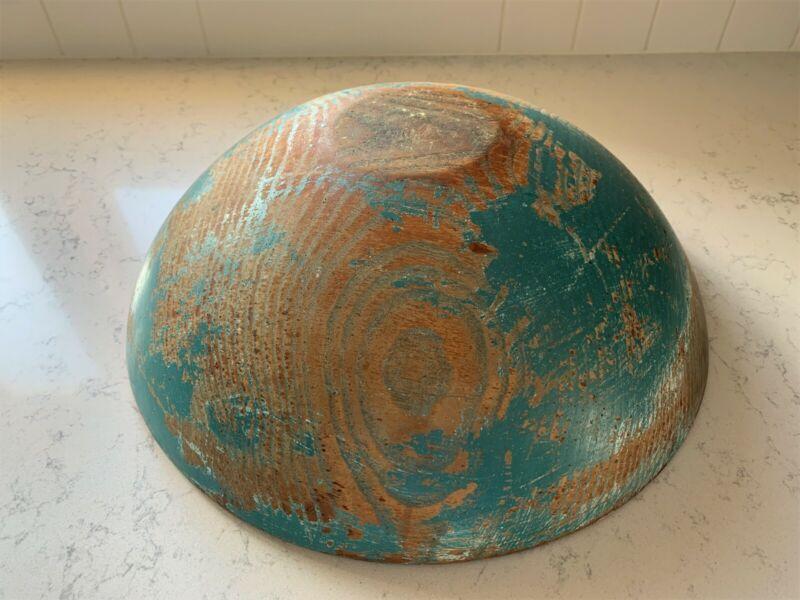 Early Primitive Antique Wooden Dough Bowl Large Deep Old Robins Egg Blue Paint