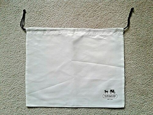 New COACH Protective Dust Bag Dustbag Cover Sateen White Black Drawstring 13x11
