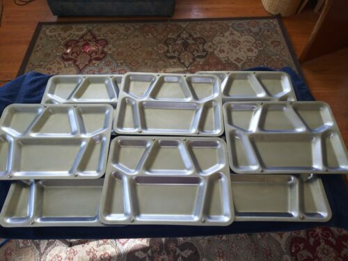 8 USN Stainless Steel Metal Cafeteria Mess Hall Trays Navy Military
