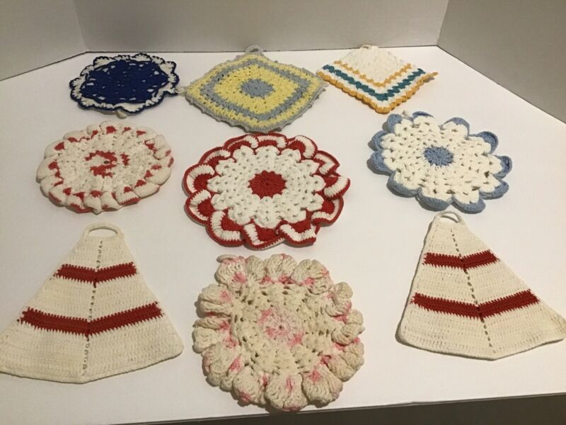 Vintage Hand Crocheted Potholders Lot of 9