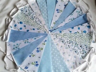 Blue Fabric Bunting Vintage Shabby Chic Handmade Wedding Garland Banner ](Blue Bunting Fabric)