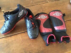 Souliers soccer enfant et protège tibias