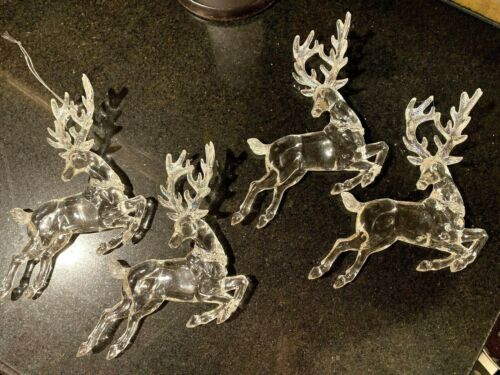 Set of 4 Large clear Acrylic Reindeer Ornaments