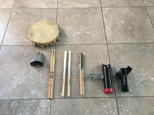 Lot of Drum Sticks + Vintage Tambourine and Cowbell + Stick Holders