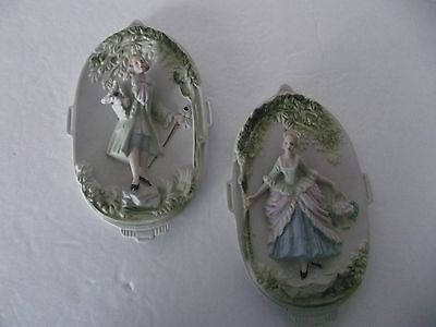 Vintage Victorian Man & Woman Porcelain Bisque Wall Hanging Hand Painted Plaques