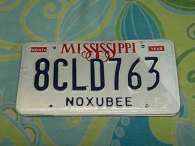 8CLD763 = NOS 1990`s Noxubee County Mississippi License Plate **Crafts Letters**