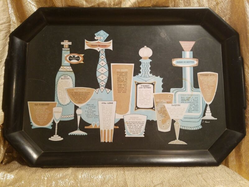Vintage, Mid Century Modern, Retro, Waverly Products Cocktail Bar Serving Tray