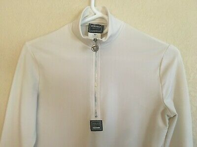 VINTAGE VERSACE JEANS COUTURE 1/4 ZIP MEDIUM LONG SLEEVE CREAM WOMEN'S TOP SHIRT