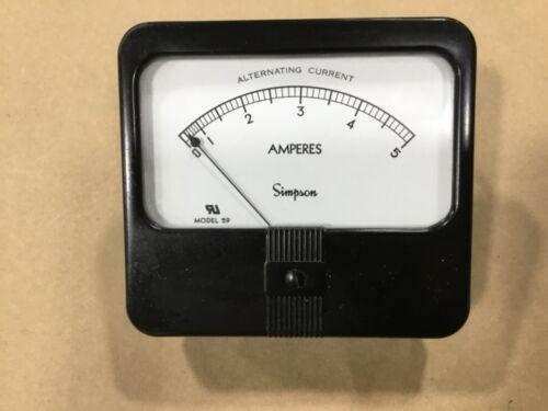 Simpson Model 59 Alternating Current Amperes Panel Meter AMP Gauge 0-5 #21E49
