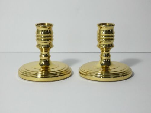 """VINTAGE BALDWIN BRASS 3"""" TALL CANDLESTICK CANDLE HOLDERS SET OF 2"""