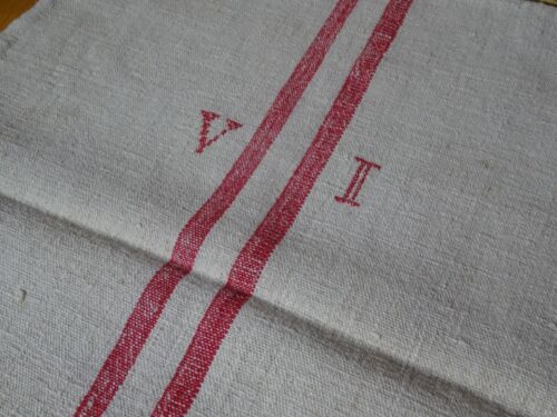 Antique European Feed Sack GRAIN SACK VI Monogram  # 9988