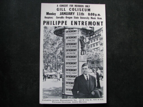 1960 PHILIPPE ENTREMONT Piano Concert Poster Window Card 11x17 in. VINTAGE