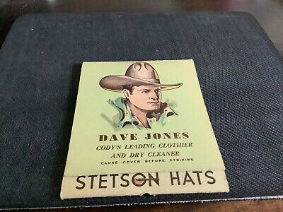 Large Match Book advertising Stetson Hats & Dave Jones awesome