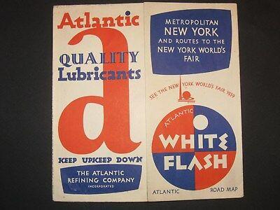 Original 1939 Atlantic White Flash Gas & Oil New York City Road Map - World Fair